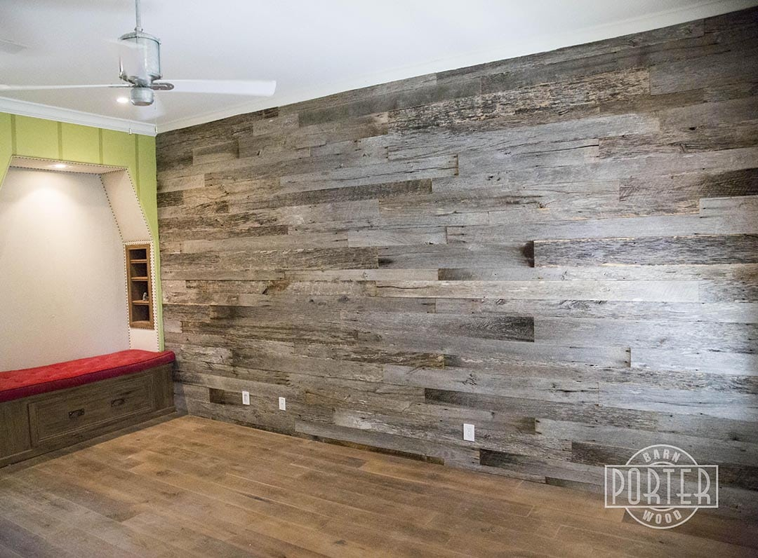 Reclaimed tobacco barn grey wall covering for Reclaimed wood manufacturers