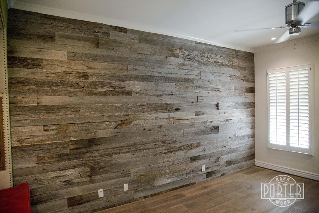 Grey White Kitchen With Wood Accent Wall