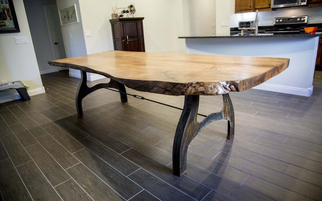 White Oak Live Edge Table With Custom Patina Base