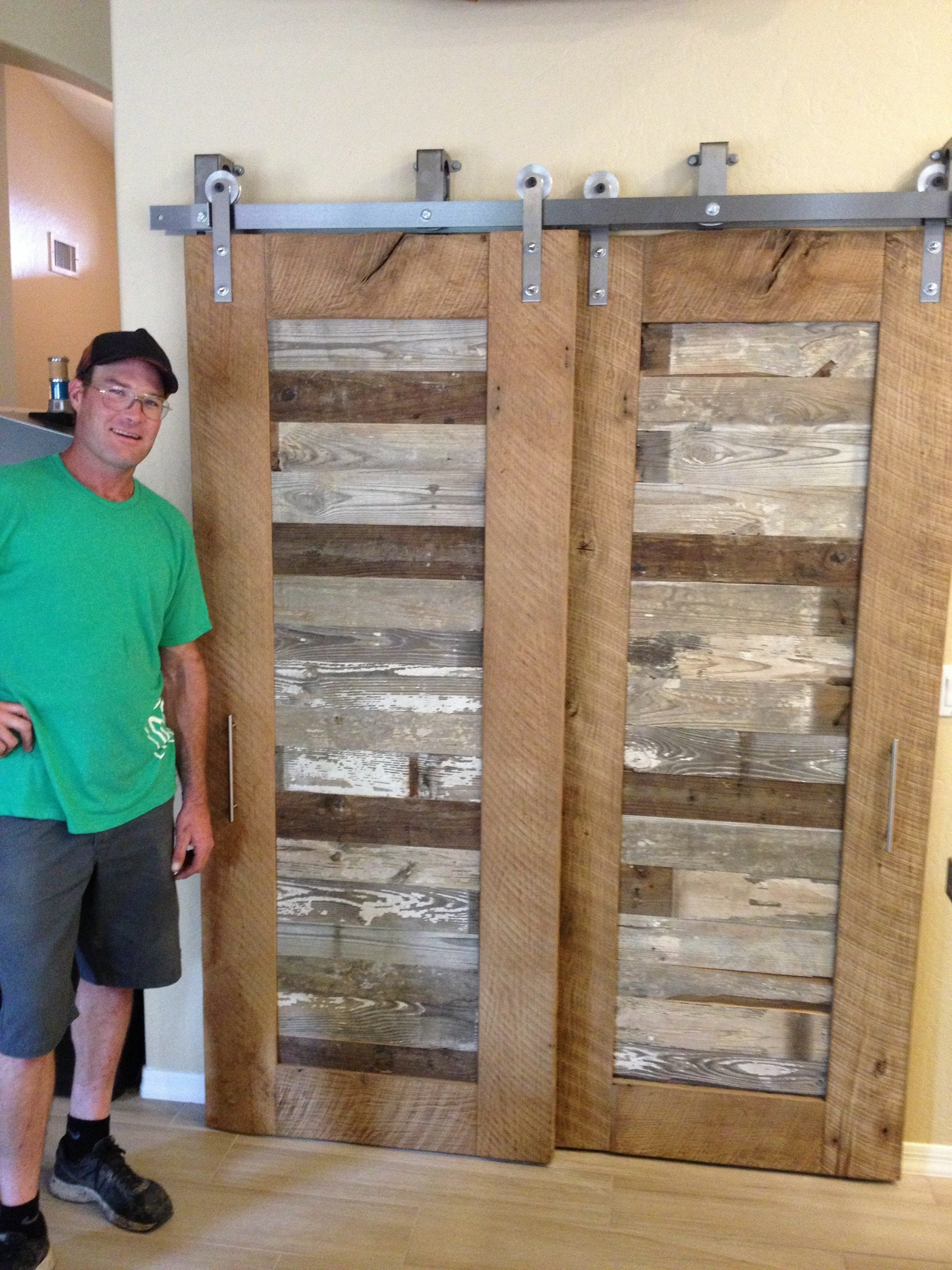 Reclaimed Oak And Pabst Blue Ribbon Factory Floor Bypass Sliding Barn Door Porter Barn Wood