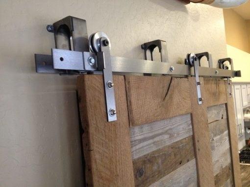 Reclaimed Oak and Pabst Blue Ribbon Factory Floor Bypass Sliding Barn Door