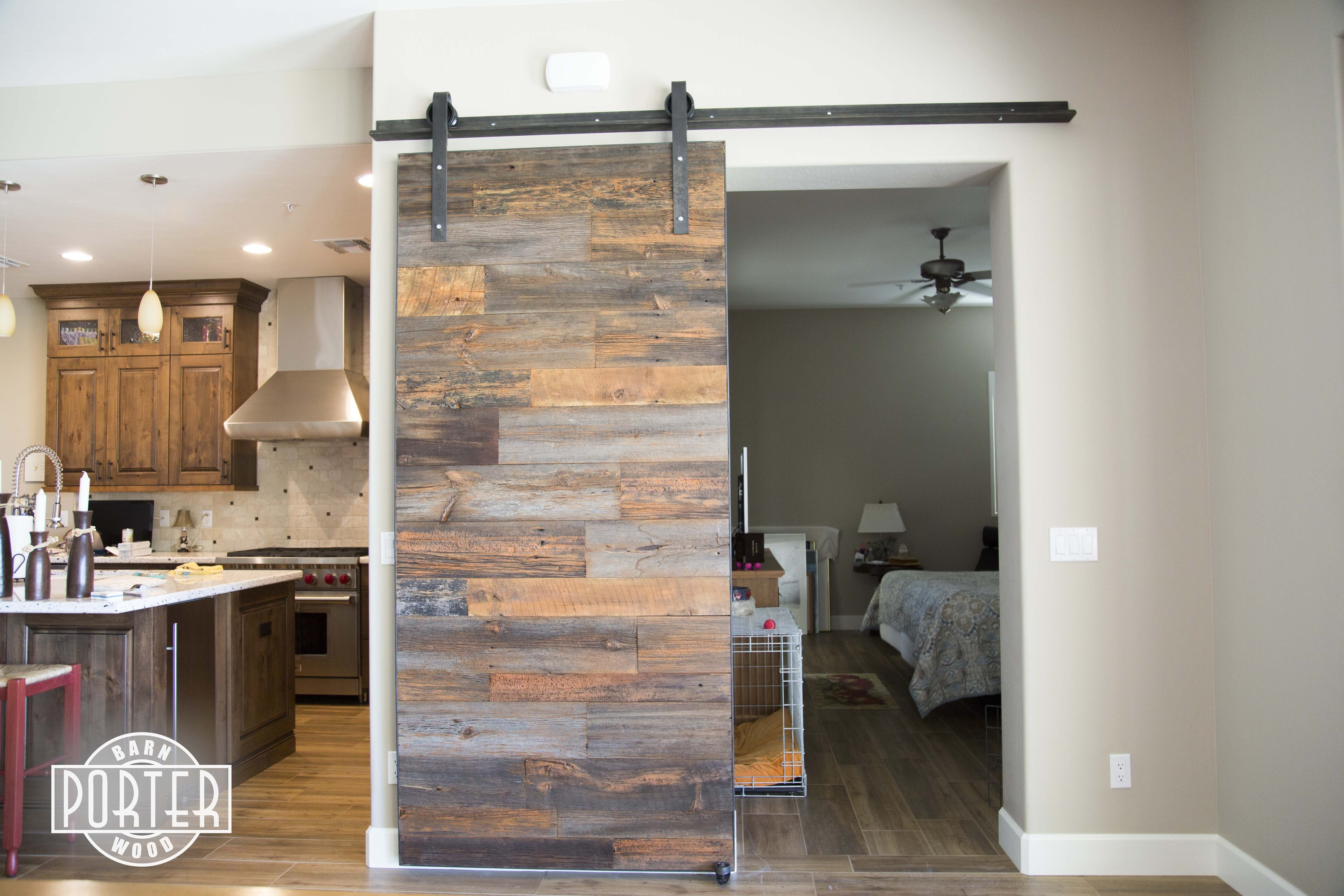Industrial Orange Accent Hemlock Sliding Barn Door