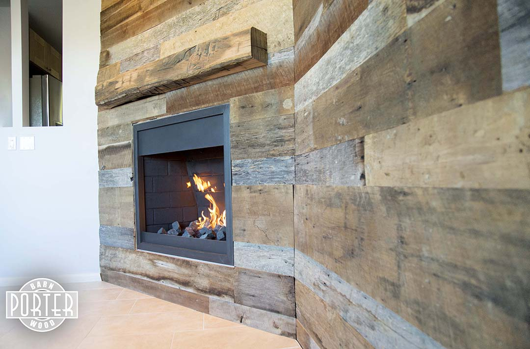 6E9A5692 - Reclaimed Oak Mantel And Tobacco Barn Wood Wall Covering Porter