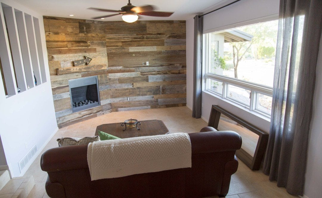 Reclaimed Oak Mantel and Tobacco Barn Wood Wall Covering