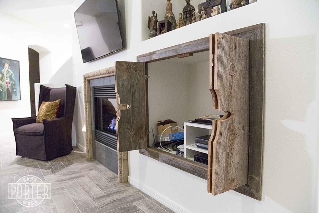 Custom bi fold entertainment cabinet doors porter barn wood - Accordion kitchen cabinet doors ...