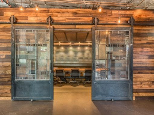 Conference Room Wood Wall Covering – Sliding Steel Doors