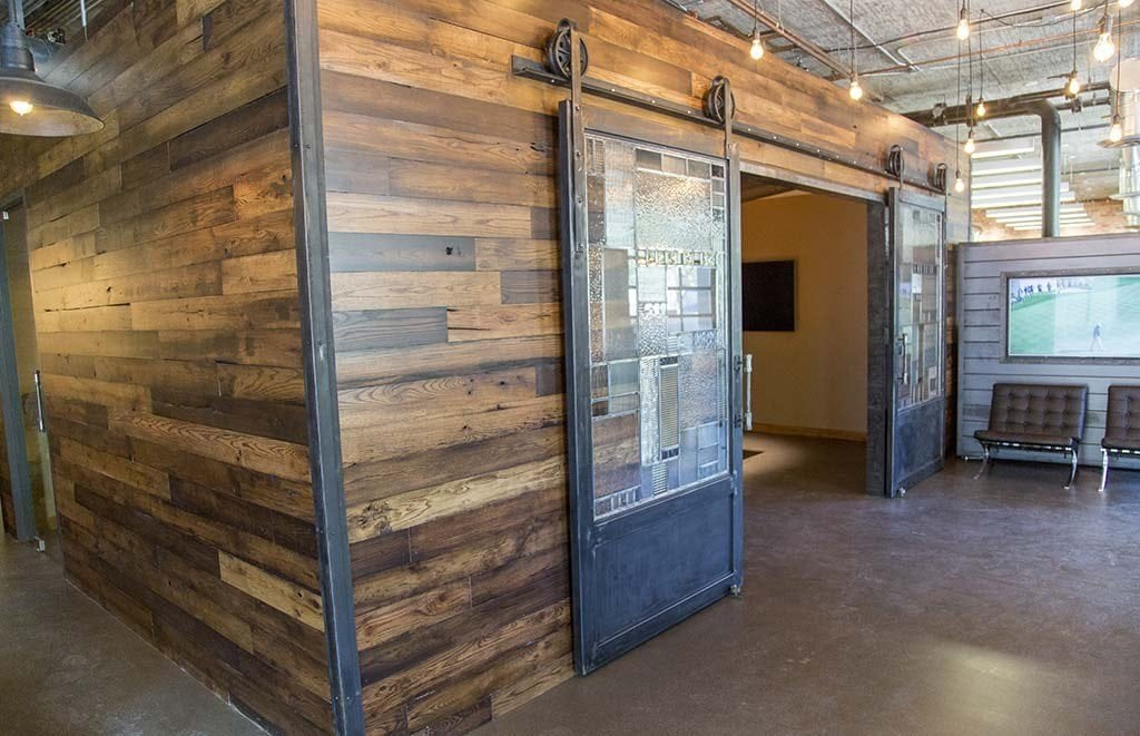 Conference Room Wood Wall Covering – Sliding Steel Doors - Doors Porter Barn Wood