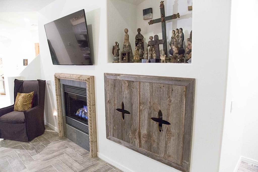 Image of: Porter Barn Wood Custom Bi Fold Entertainment Cabinet Doors