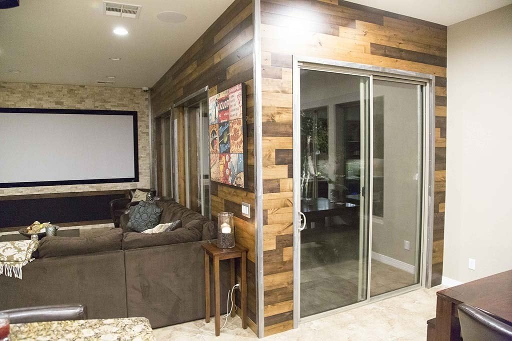 3-Tone Van Dyke Wood Walls w/ Brushed Steel Trim