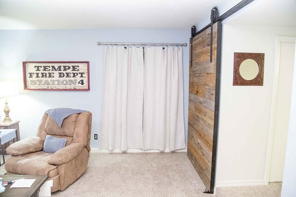 Mixed Chestnut and Mushroom Wood Sliding Barn Door