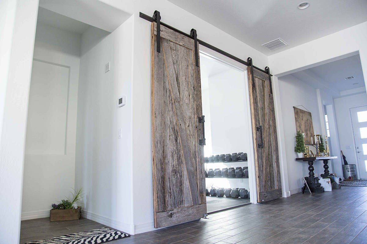 Rough Grey / Smooth Brown Bi-Part Tobacco Barn Sliding Barn Doors