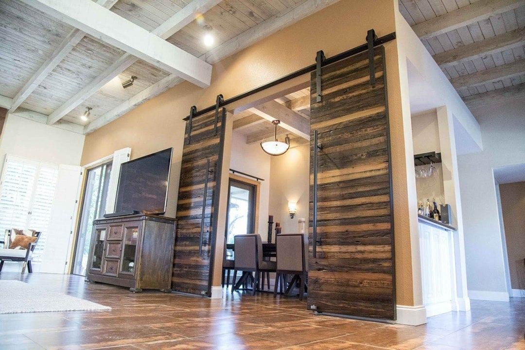 Horizontal Slatted Speckled Black Bi-Part Sliding Barn Doors with 3 Tone Van Dyke Brown