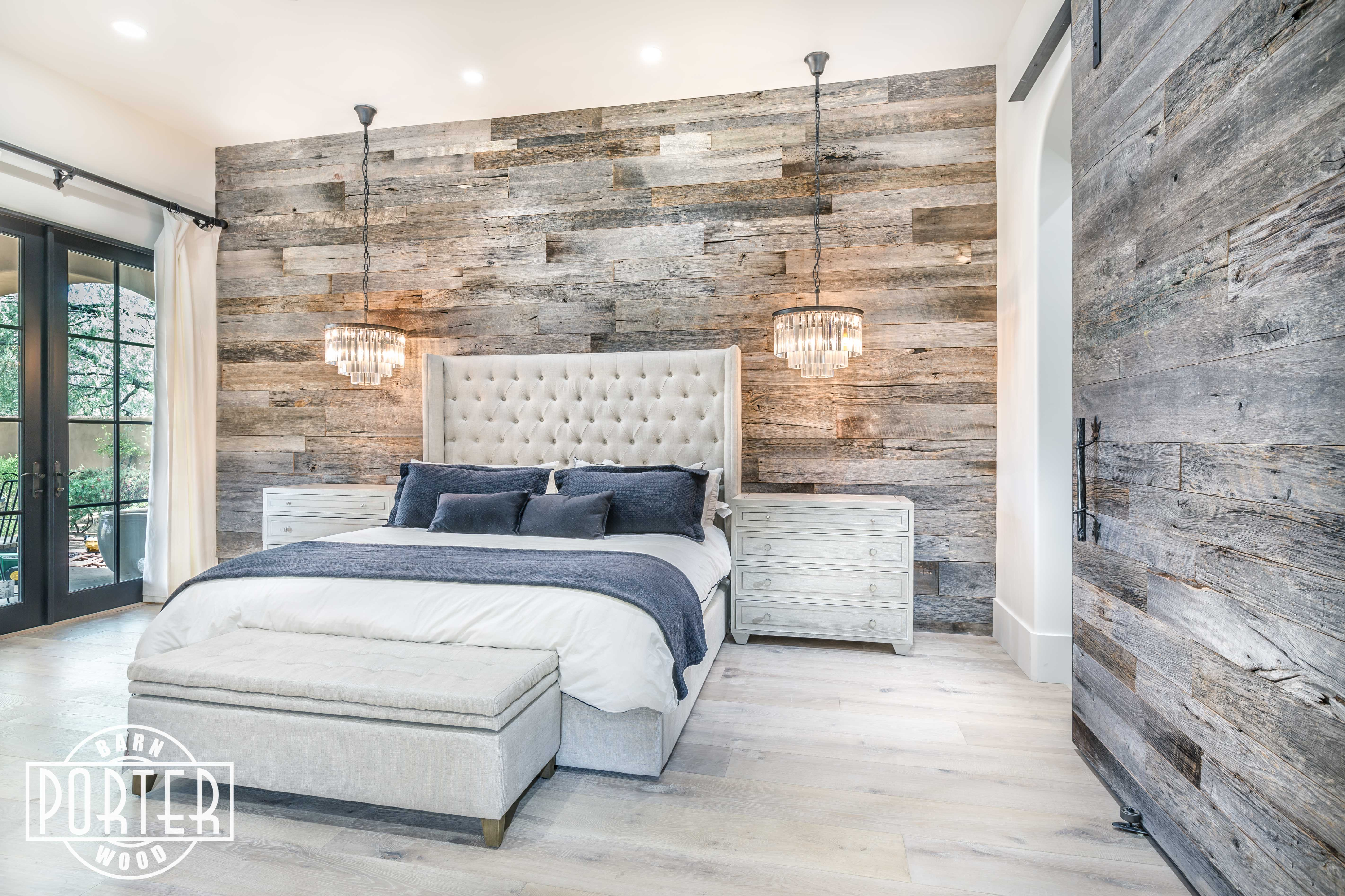 PBW: Tobacco Barn Grey Wood Wall - Master Bedroom