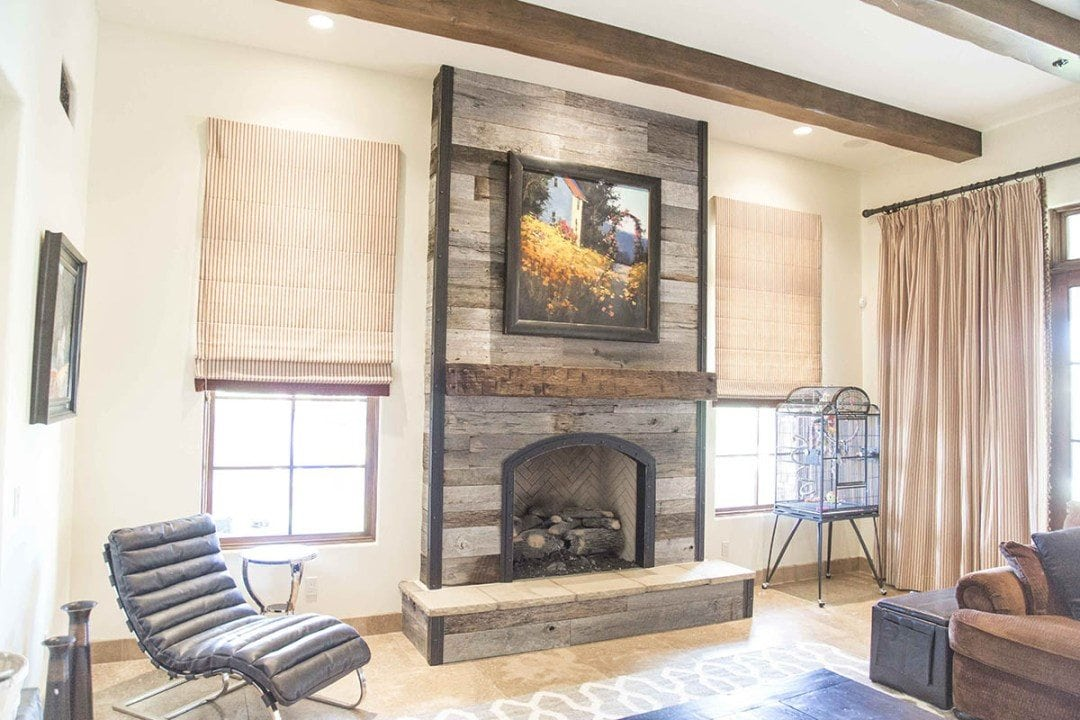 Tobacco Barn Grey Fireplace Wood Wall W/ Steel Trim