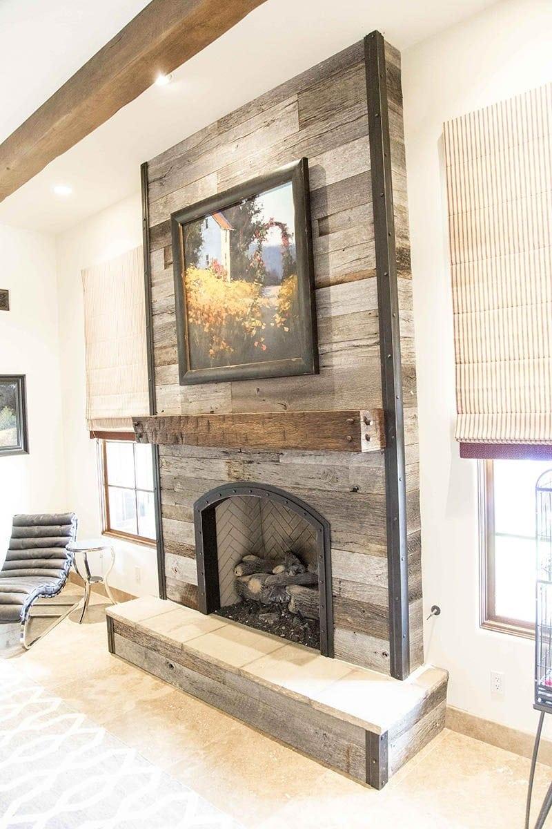 Wooden Wall Fireplace : Tobacco barn grey fireplace wood wall w steel trim