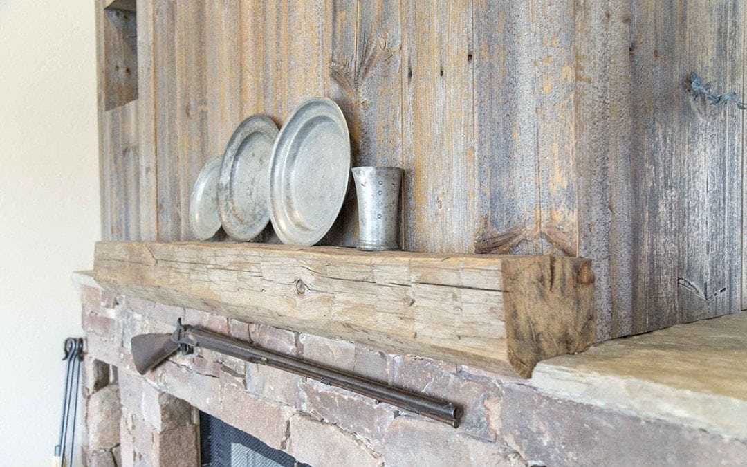 Iowa Pine Siding Wood Wall w/ Yellow Pine Mantel - Mantles Porter Barn Wood