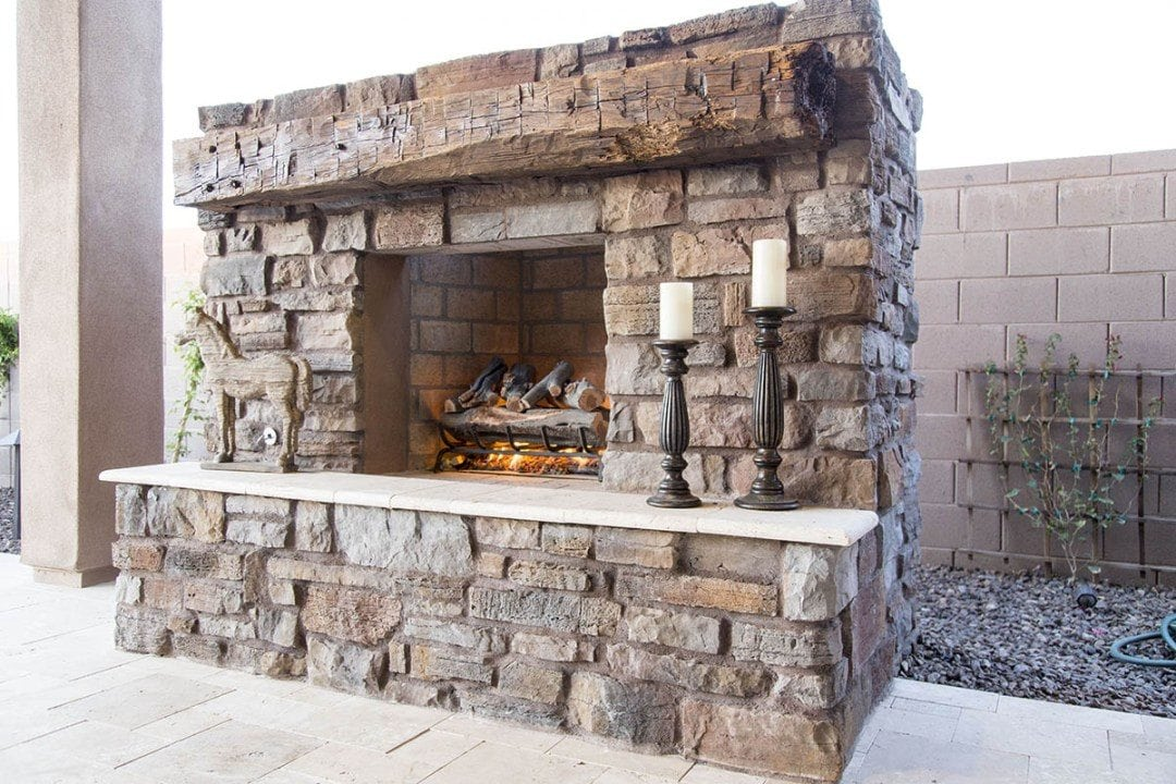 Reclaimed Hand Hewn White Oak Outdoor Mantel