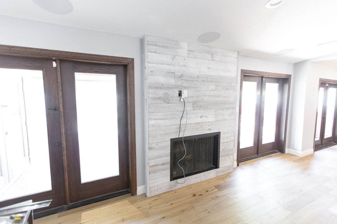 Distressed White Iowa Pine Wood Wall w/ Steel Fireplace Frame