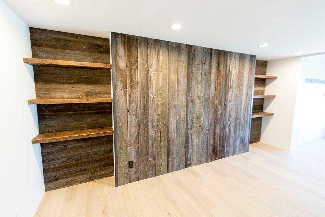 6E9A5480 - Reclaimed Wood Wall Entertainment Center & Shelves Porter Barn Wood