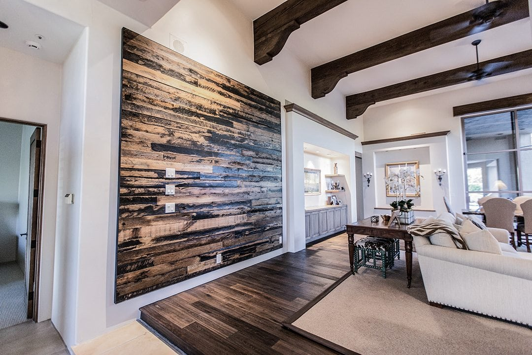 Floating Reclaimed Wood Wall