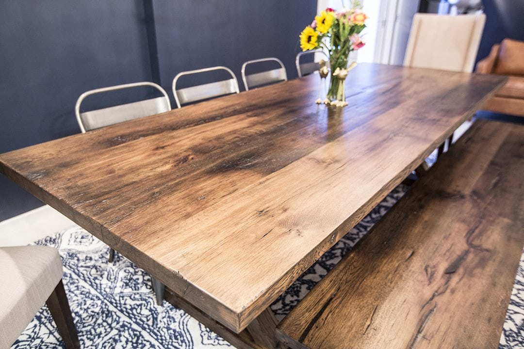 Reclaimed Mixed Hardwoods Table amp Bench with Wrapped Box  : 6E9A9076 from porterbarnwood.com size 1080 x 720 jpeg 138kB