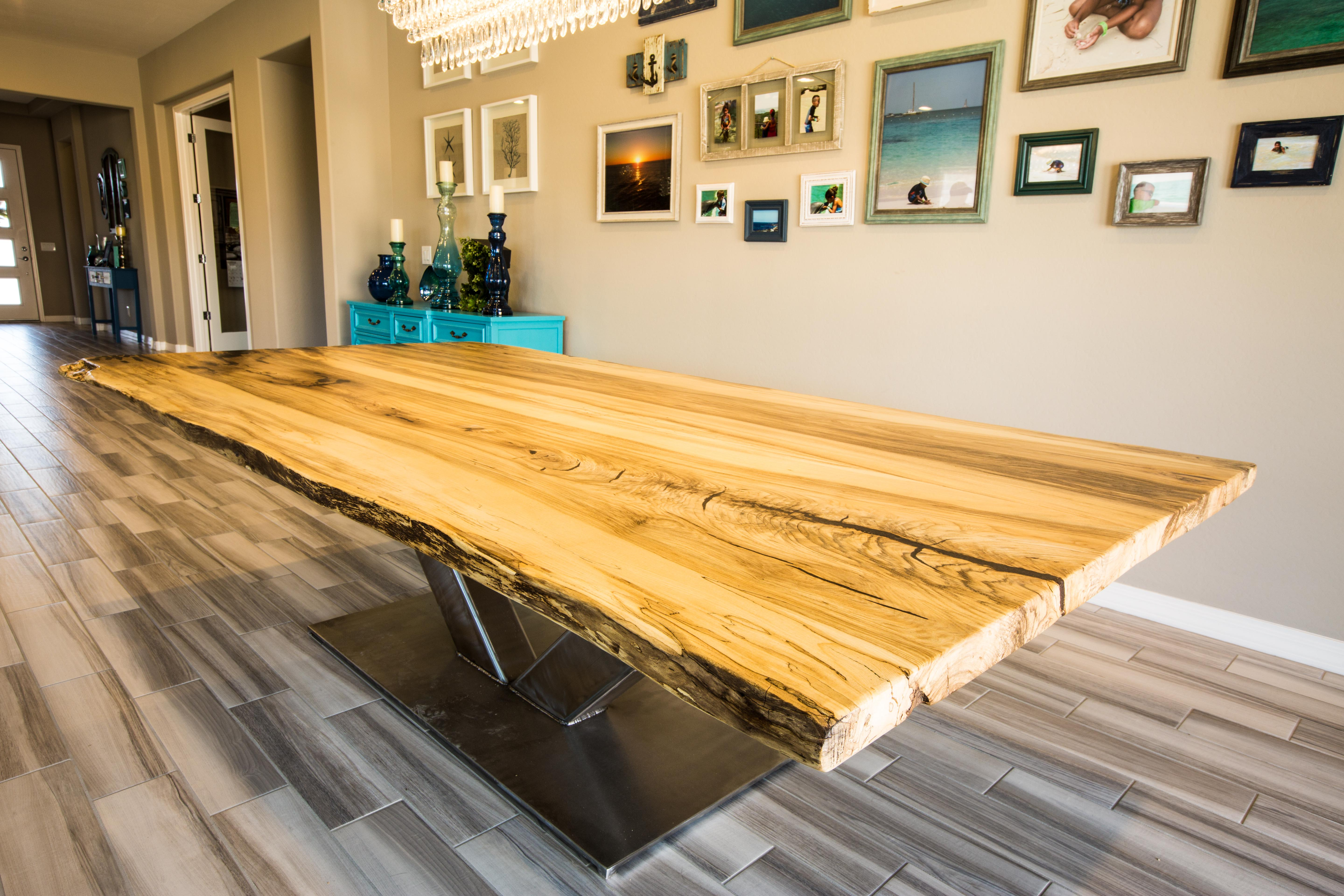 Spalted Hackberry Live Edge Dining Table Porter Barn Wood