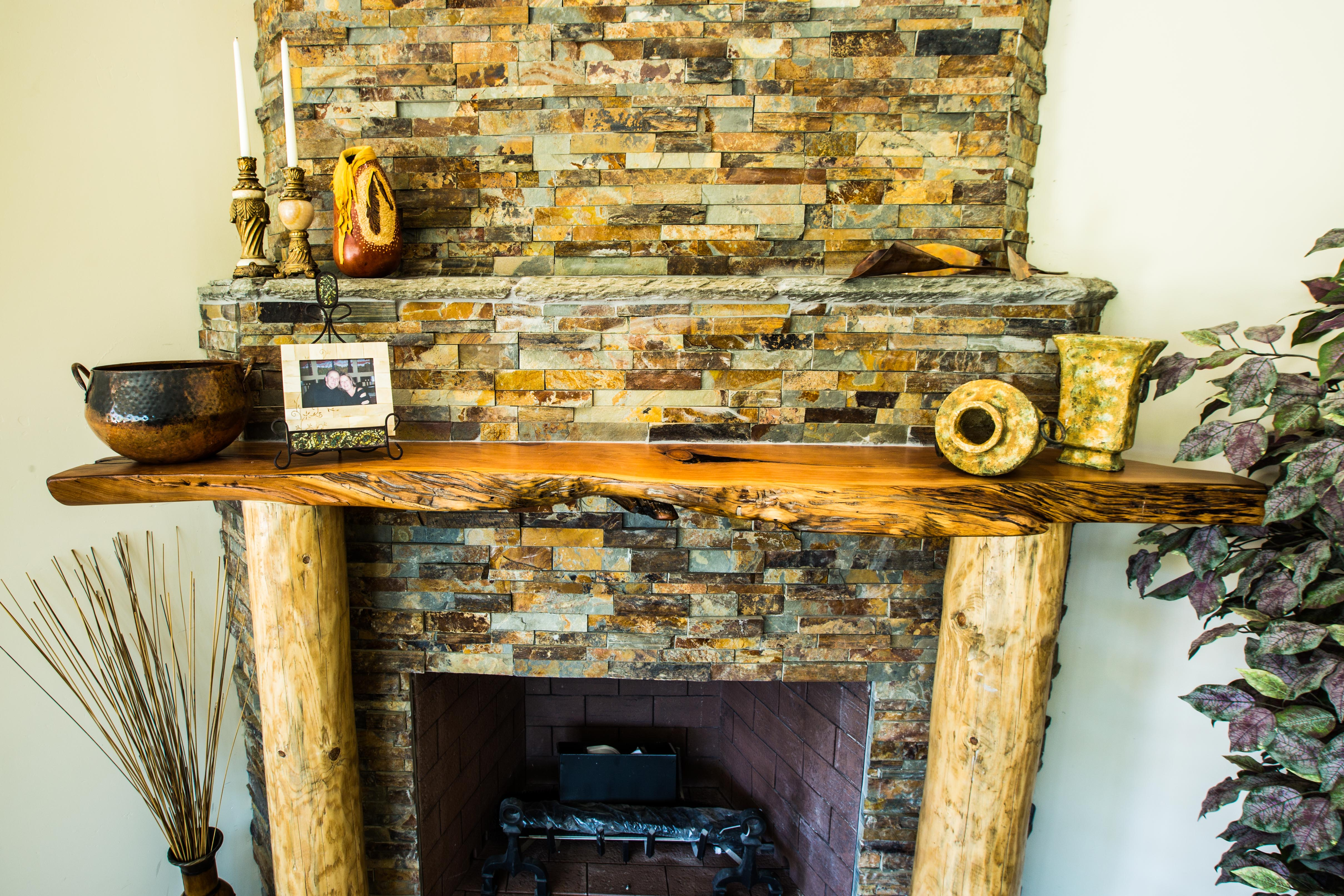 Live Edge Slab Mantel