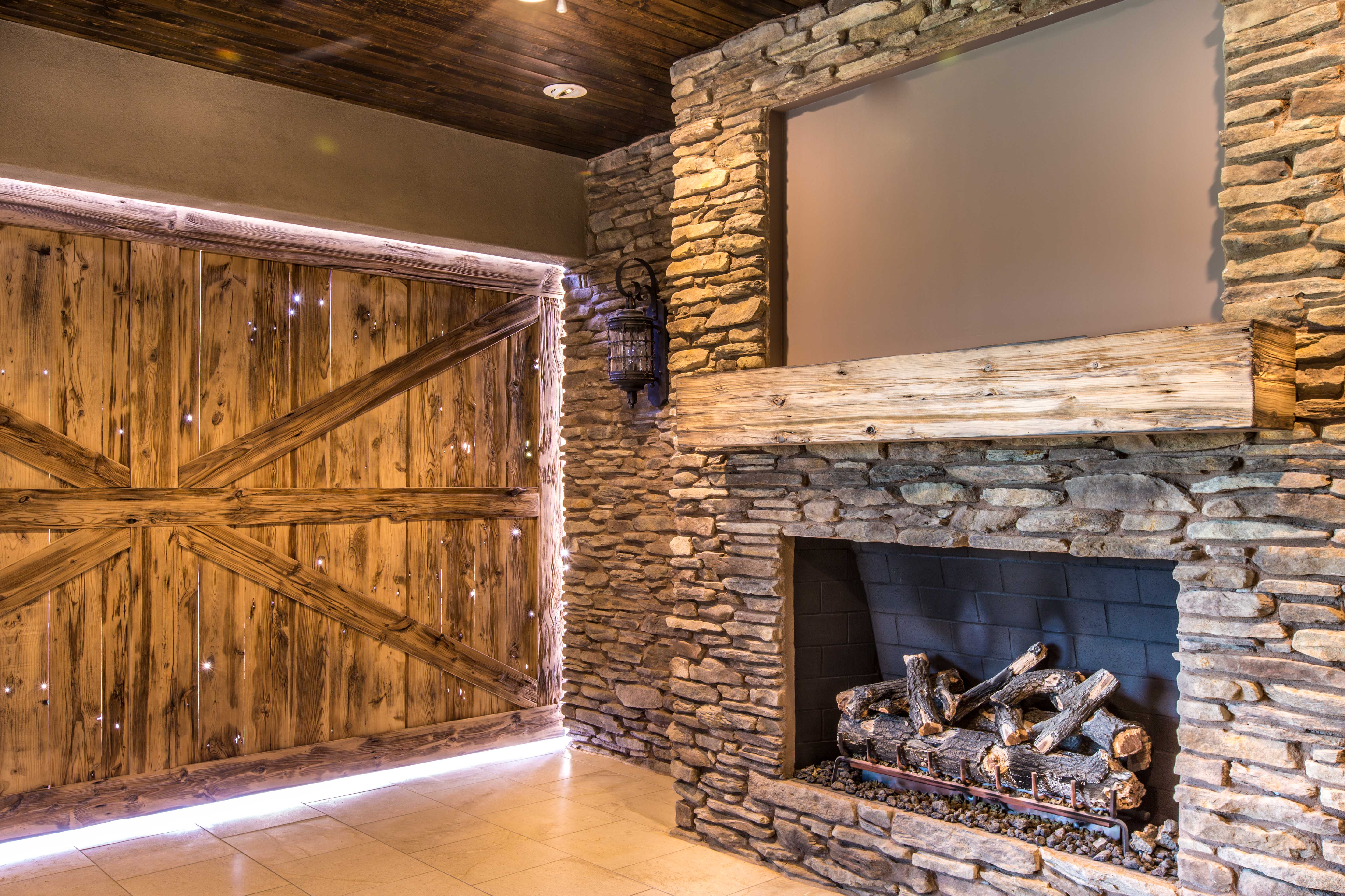 Mushroom Wood Door & Mantle