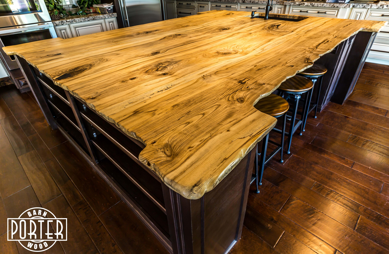 Live edge hackberry island top porter barn wood