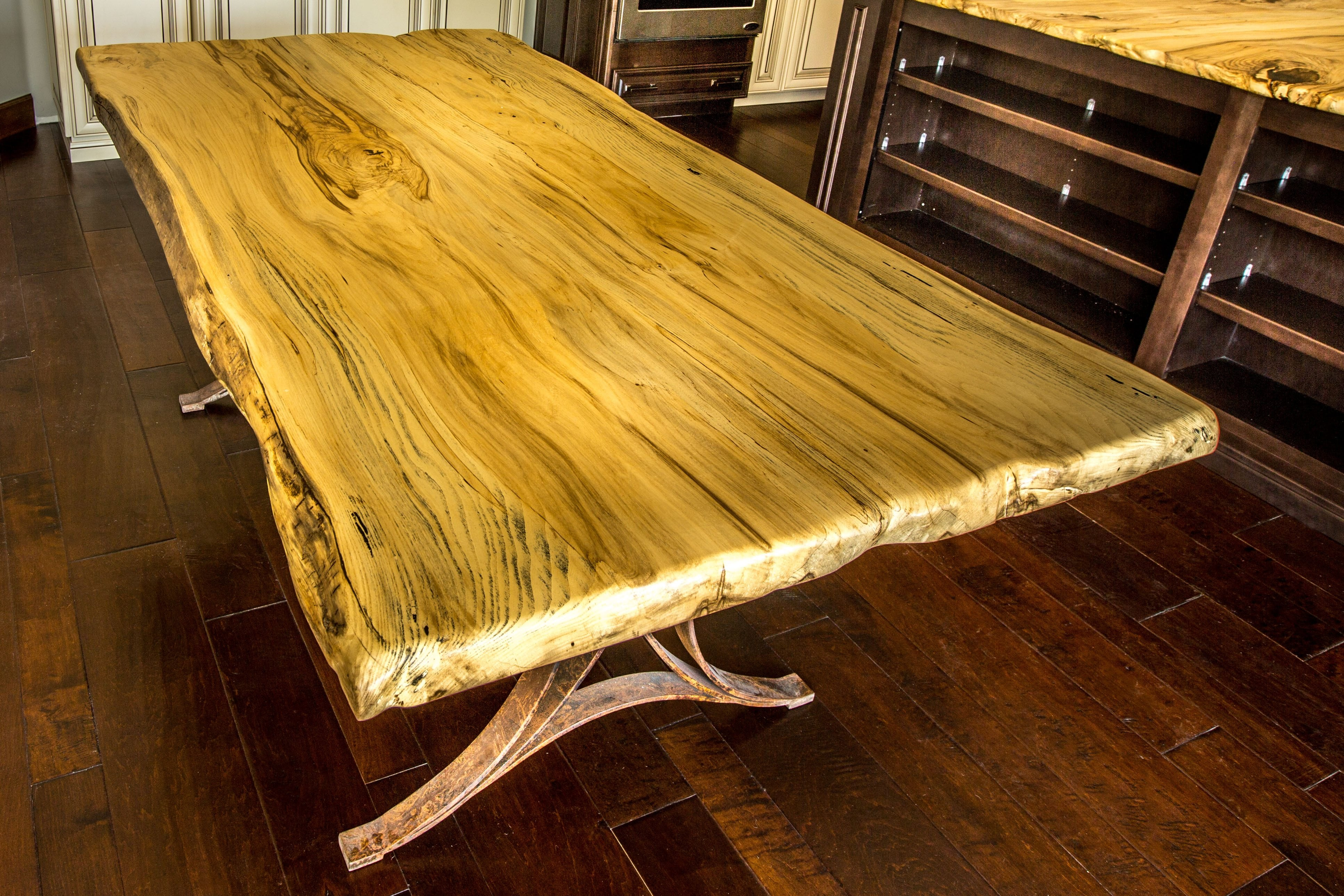 live edge hackberry dining table porter barn wood