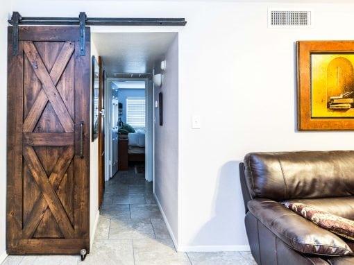Distressed Alder Laundry Sliding Door