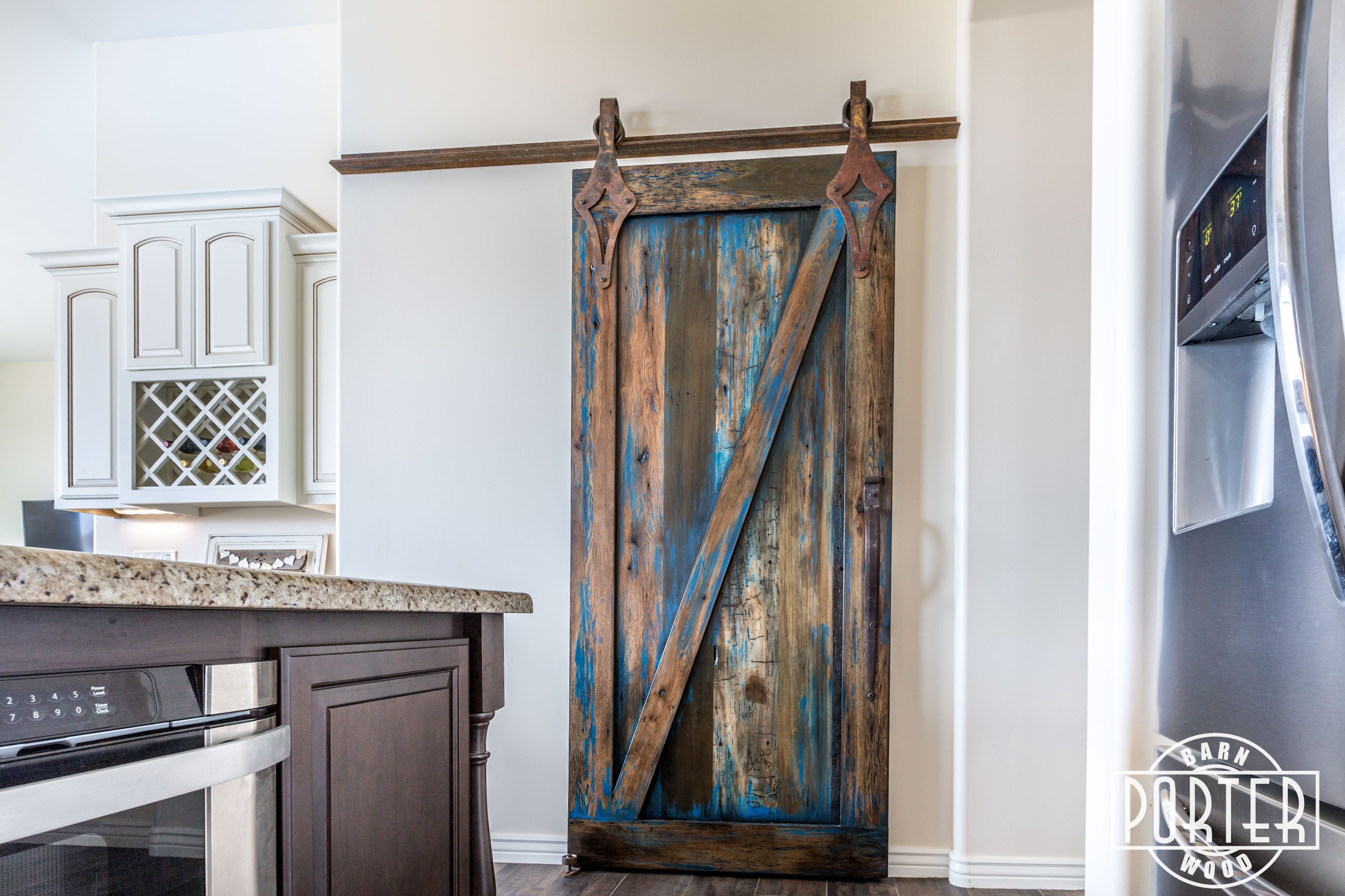 Blue Stained Sliding Door | Porter Barn Wood