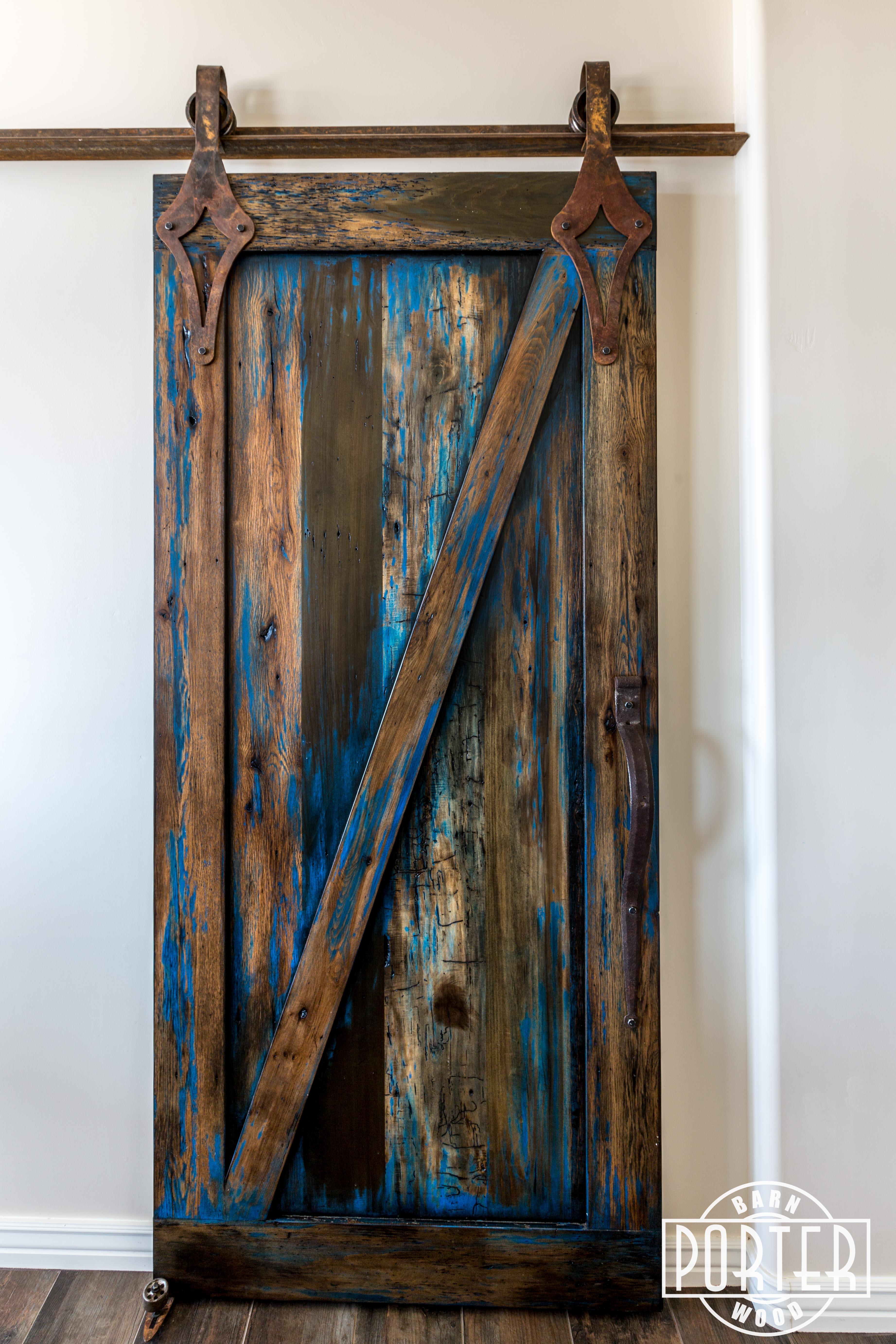 Blue Stained Sliding Door Porter Barn Wood