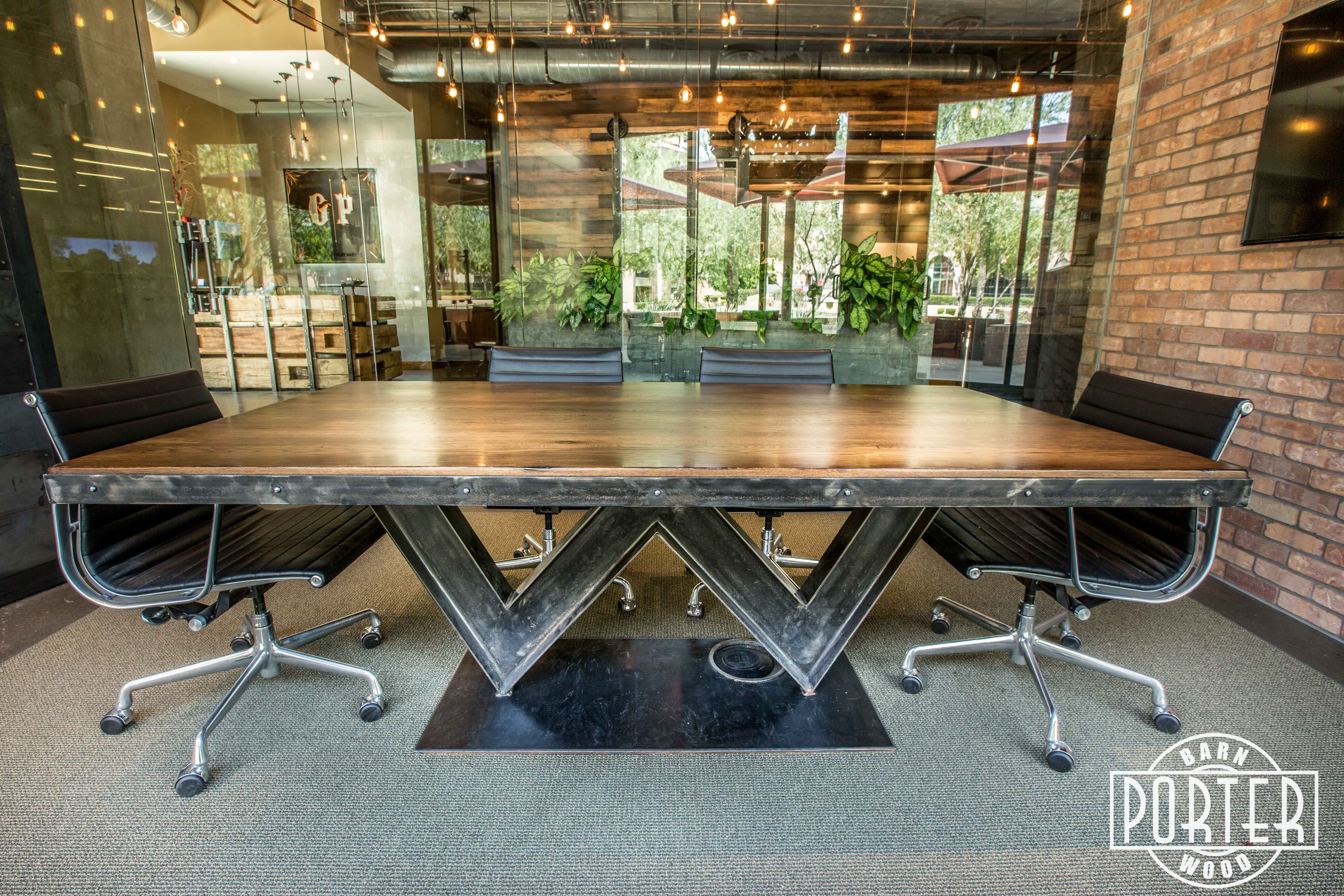 Reclaimed White Oak W I Beam Conference Table Porter