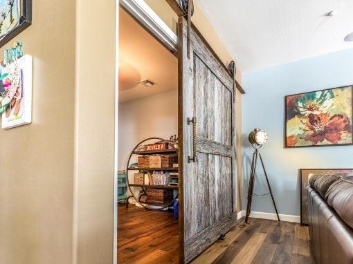 Two Panel Tobacco Barn Grey Sliding Door