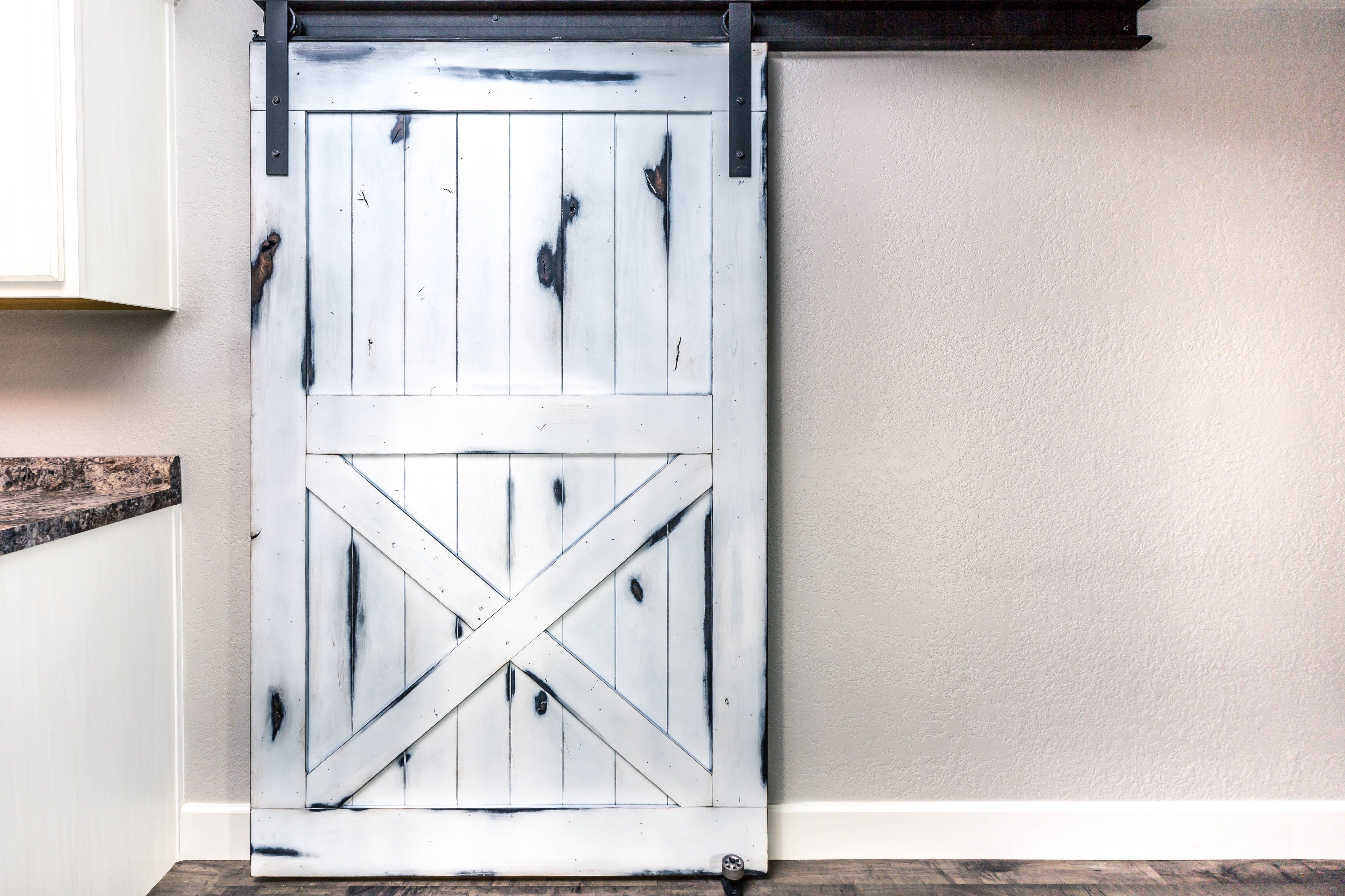 Distressed White Knotty Alder Door Porter Barn Wood