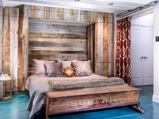 Mixed Tobacco Barn Grey/Brown Wood Wall + Murphy Bed + Dog Murphy Bed + Cabinets