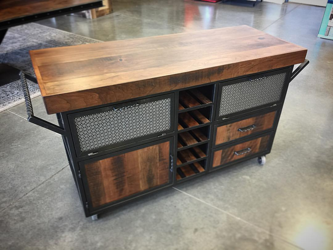 Rolling Cherry & Steel Kitchen Island | Porter Barn Wood
