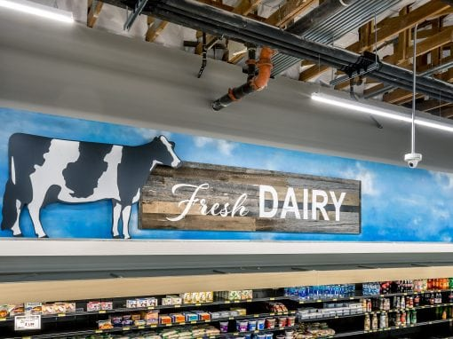 "Asiana Market ""Fresh Dairy"" Sign"