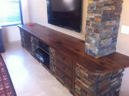 Reclaimed Oak Countertop for Built-In