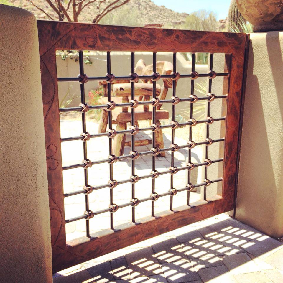 Hereu0027s A Steel Patio Gate We Built For A Customeru0027s Home. The Tube Frame Is  Decorated With A Hand Welded Pattern And The Steel Rods Are Tied Together  With ...