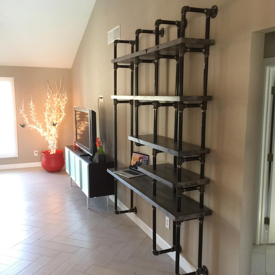 Greywash Alder Shelves With Gas Pipe Wall Mount Support