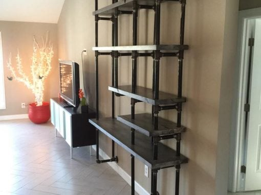 Greywash Alder Shelves with Gas Pipe Wall-Mount Support