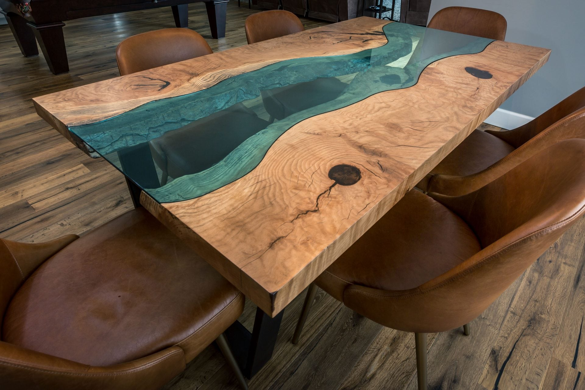 Blue glass live edge porter barn wood for Live edge wood projects