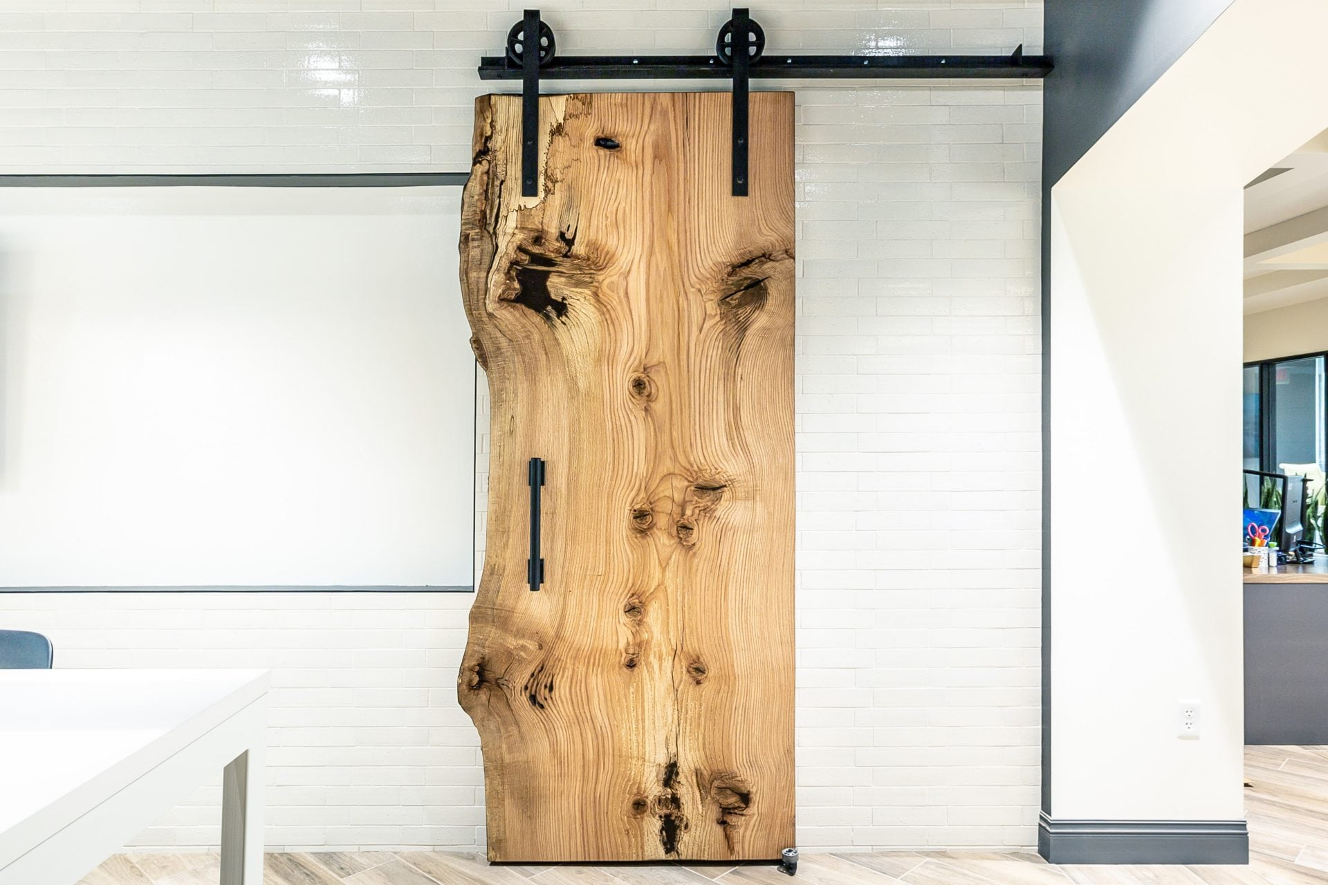 Liv Communities Live Edge Sliding Door Porter Barn Wood