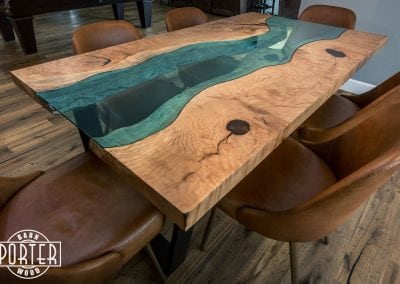 blue glass, live edge table, table, dining, dinner, home, family