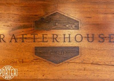 Laser engraved Rafterhouse logo