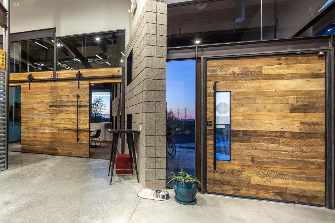 Reclaimed Wood Pivot Door & Sliding Door