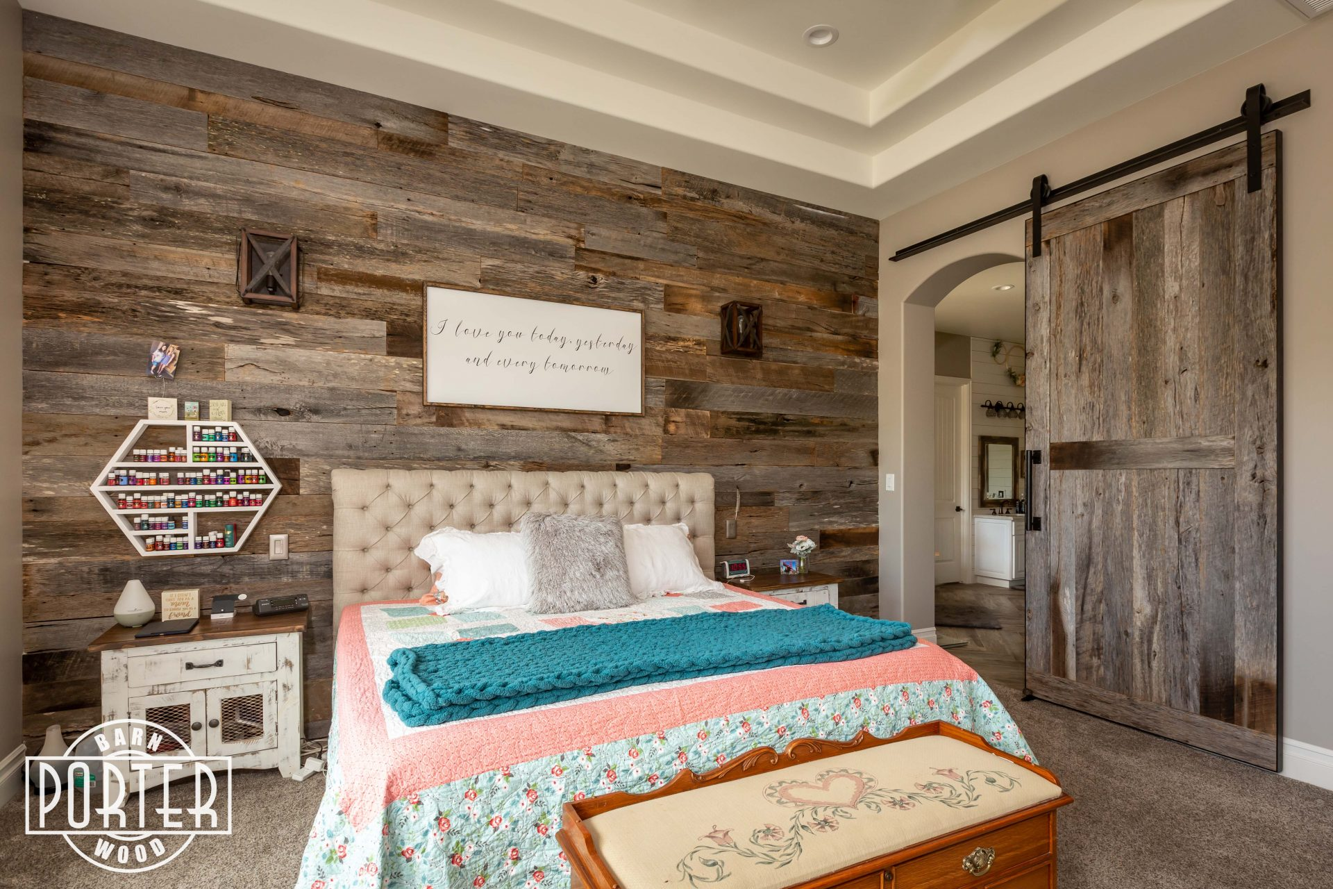 Reclaimed Wood Wall & Sliding Door | Porter Barn Wood