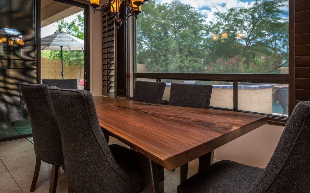 Modern Walnut & Steel Table
